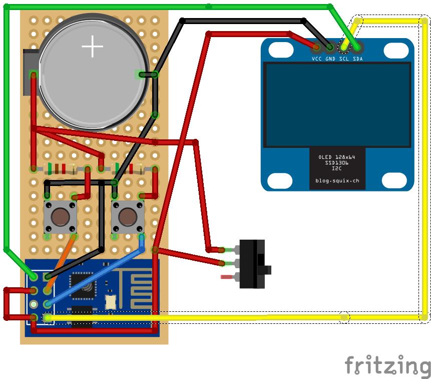 Schema connessione OLED e ESP8266-01